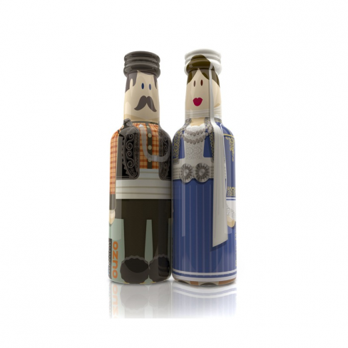 Epirus Couple gogreek® Οuzo Miniatures (2x50ml) Traditional Costumes