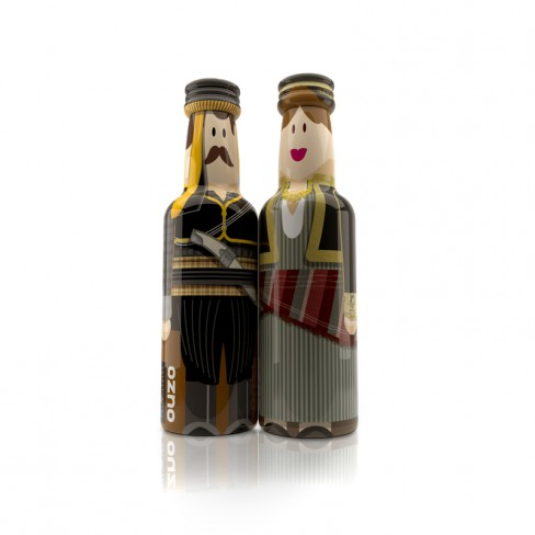 Pontus ΙΙ Couple gogreek® Οuzo Miniatures (2x50ml) Traditional Costumes