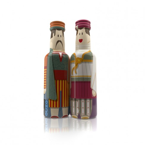 Santorini Couple gogreek® Οuzo Miniatures (2x50ml) Traditional Costumes