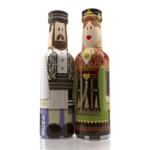 Thessaly Couple gogreek® Οuzo Miniatures (2x50ml) Traditional Costumes