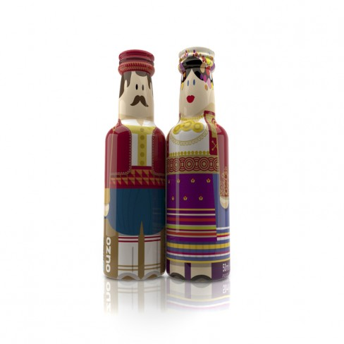 Corfu Couple gogreek® Οuzo Miniatures (2x50ml) Traditional Costumes