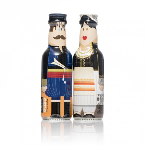 Crete Couple gogreek® Οuzo Miniatures (2x50ml) Traditional Costumes