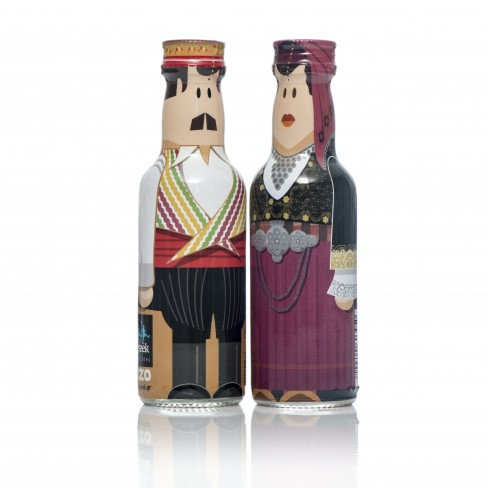 Cyprus Couple gogreek® Οuzo Miniatures (2x50ml) Traditional Costumes