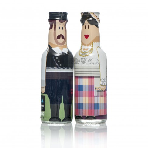 Mytilene Couple gogreek® Οuzo Miniatures (2x50ml) Traditional Costumes